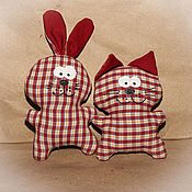 Куклы и игрушки ручной работы. Ярмарка Мастеров - ручная работа Котик и зайчик. Handmade.