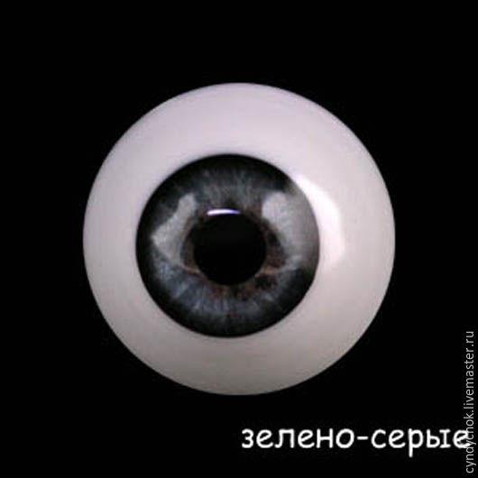 26 мм, серо-зеленые  Глаза акриловые для кукол, , Жирона, Фото №1