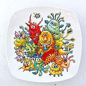 Посуда ручной работы. Ярмарка Мастеров - ручная работа Тарелка. Монстрики.. Handmade.