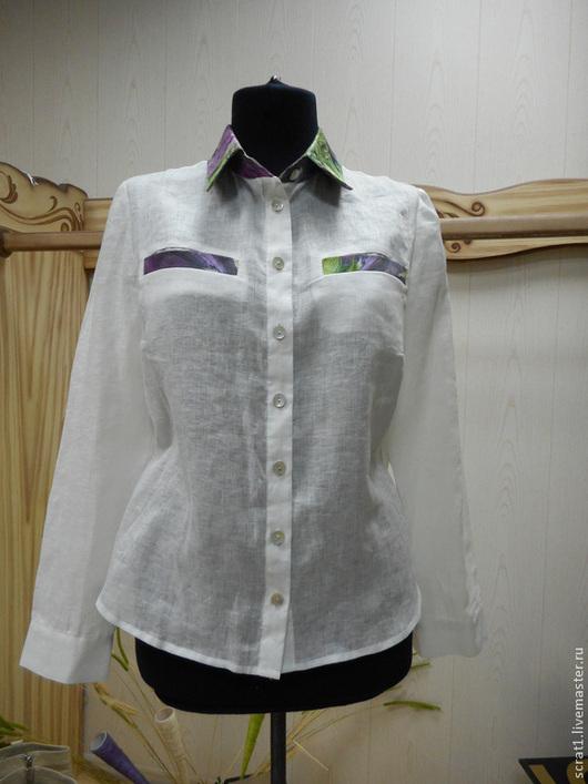 Блузки ручной работы. Ярмарка Мастеров - ручная работа. Купить Льняная блуза рубашка Монвизо, 100% лен,Италия. Handmade.