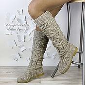 Обувь ручной работы handmade. Livemaster - original item Winter boots beige Women knitted. Handmade.