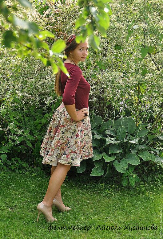 """Юбки ручной работы. Ярмарка Мастеров - ручная работа. Купить Авторская валяная юбка """"Цветочная"""". Handmade. Комбинированный, купить юбку"""