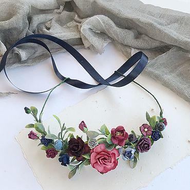 Свадебный салон ручной работы. Ярмарка Мастеров - ручная работа Цветочный венок с синими цветами, венок для невесты. Handmade.