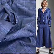 Материалы для творчества handmade. Livemaster - original item Fabric: Suit fabric blue check on dark blue. Handmade.