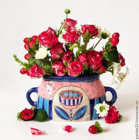 """Вазы ручной работы. Ярмарка Мастеров - ручная работа. Купить Ваза""""Летний вечер"""". Handmade. Розовый, вазочка, декор для интерьера"""