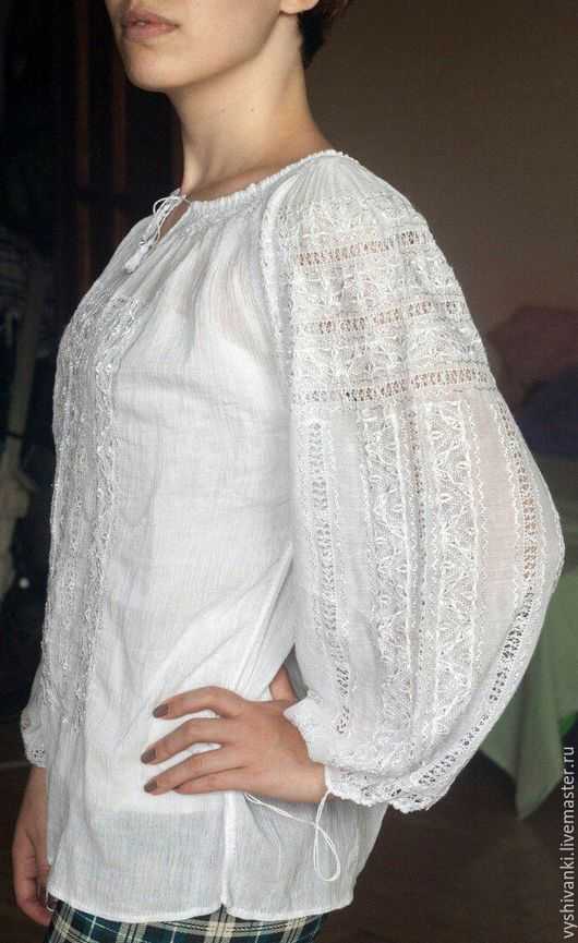 """Этническая одежда ручной работы. Ярмарка Мастеров - ручная работа. Купить Женская маркизетовая блузка""""Шелковая нежность"""". Handmade. Белый"""