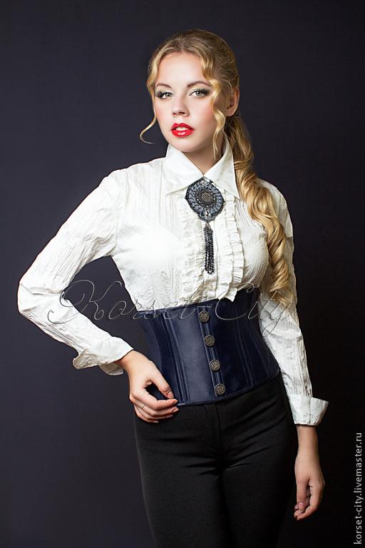 Корсеты ручной работы. Ярмарка Мастеров - ручная работа. Купить Корсет-пояс утягивающий «Франсуаза» из синей костюмной ткани с пуговиц. Handmade.