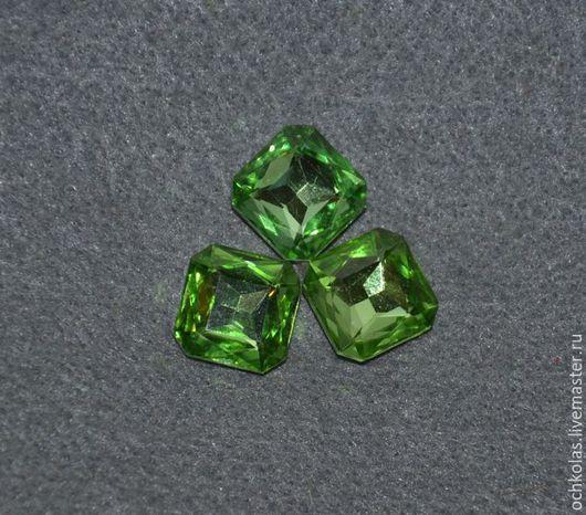 Для украшений ручной работы. Ярмарка Мастеров - ручная работа. Купить Стразы квадрат 13х13 светло-зеленый. Handmade. Салатовый