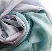 Аксессуары ручной работы. Ярмарка Мастеров - ручная работа Шарф шелковый Оттепель пепельно-фиолетовый пепельно-зеленый. Handmade.