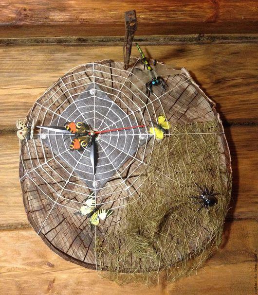 """Часы для дома ручной работы. Ярмарка Мастеров - ручная работа. Купить Часы """"В паутине"""". Handmade. Часы настенные, паук"""
