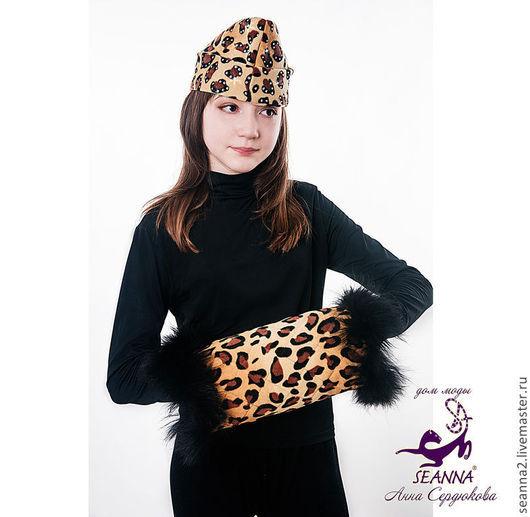 """Комплекты аксессуаров ручной работы. Ярмарка Мастеров - ручная работа. Купить Муфточка """"теплый леопард"""" из американского флиса с мехом. Handmade."""