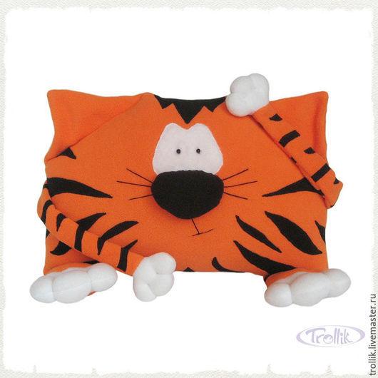 Текстиль, ковры ручной работы. Ярмарка Мастеров - ручная работа. Купить Подушка-игрушка Тигр из флиса. Handmade. Рыжий, подарок