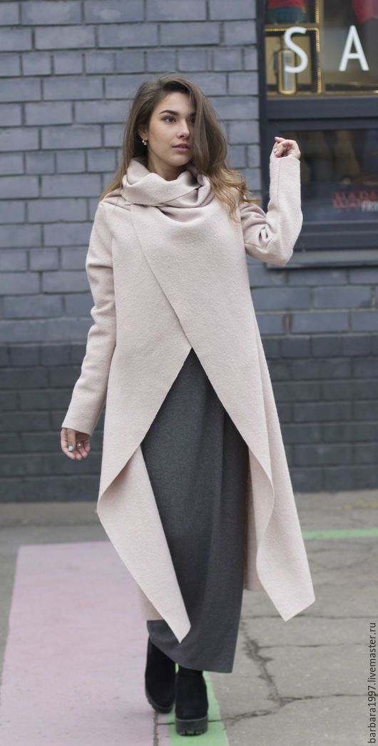 Верхняя одежда ручной работы. Ярмарка Мастеров - ручная работа. Купить Пальто СOZY POWDERY. Handmade. Бежевый, пальто с поясом
