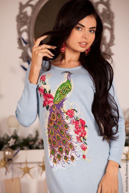 """Платья ручной работы. Ярмарка Мастеров - ручная работа. Купить Платье """"Жар птица"""". Handmade. Голубой, вышивка крестиком"""