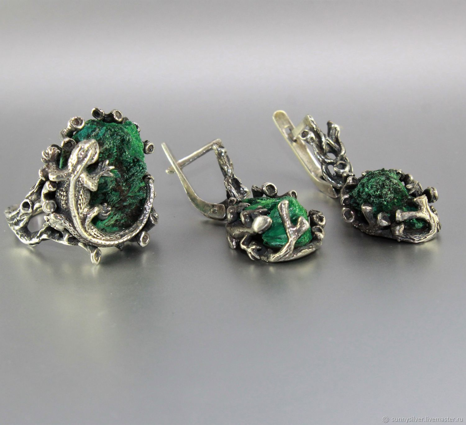 Yutropia earrings and ring with malachite in 925 sterling silver, Jewelry Sets, Yerevan,  Фото №1