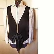 Одежда handmade. Livemaster - original item Black vest 48 wool. Handmade.