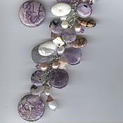 Украшения handmade. Livemaster - original item kit with charoite, amethysts, pearls lada