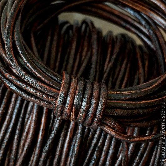 Для украшений ручной работы. Ярмарка Мастеров - ручная работа. Купить Шнур кожаный (арт.к19) 2 мм, античный/винтажный коричневый - 3. Handmade.