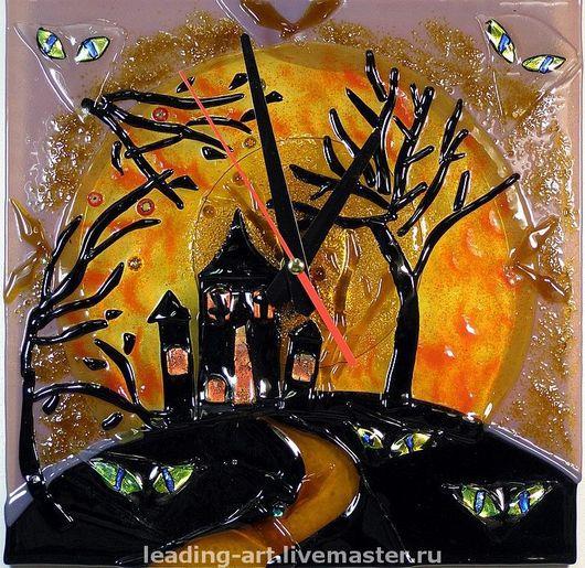 """Часы настенные интерьерные """"Halloween"""" (стекло, фьюзинг)"""