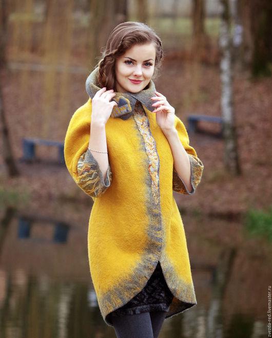 """Верхняя одежда ручной работы. Ярмарка Мастеров - ручная работа. Купить Кардиган """"Косы золотые"""". Handmade. Желтый, золотые листья"""