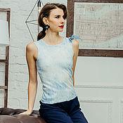 Одежда handmade. Livemaster - original item Blue felt top with pleats at shoulder. Handmade.