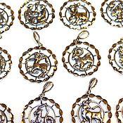Материалы для творчества handmade. Livemaster - original item Pendants with diamond face signs of the zodiac silver 925. Handmade.