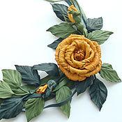 Украшения ручной работы. Ярмарка Мастеров - ручная работа Яркое Колье из кожи Огненные розы. Handmade.