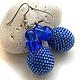 Синие серьги-шарики из бисера, синие бисерные серьги