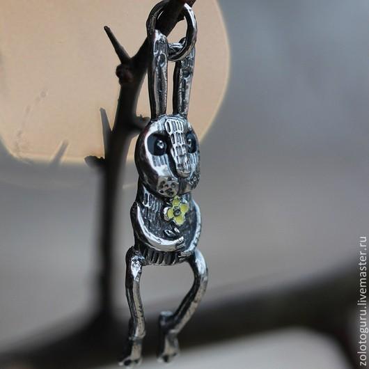 """Кулоны, подвески ручной работы. Ярмарка Мастеров - ручная работа. Купить Подвеска из серебра на шею """"Кролик"""". Handmade. Серебряный, эмаль"""