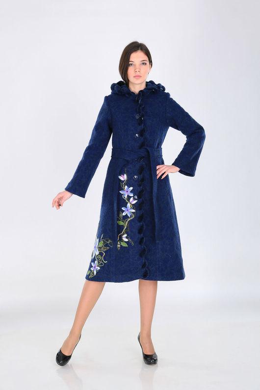 Верхняя одежда ручной работы. Ярмарка Мастеров - ручная работа. Купить Пальто зимнее ПЗ 02. Handmade. Тёмно-синий