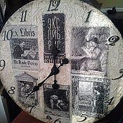 Для дома и интерьера ручной работы. Ярмарка Мастеров - ручная работа Часы деревянные 40 см настенные_Экслибрисы W0320. Handmade.