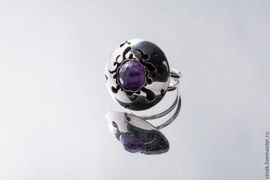 Кольца ручной работы. Ярмарка Мастеров - ручная работа. Купить Серебряное кольцо с аметистом - Чистое небо. Handmade. Фиолетовый