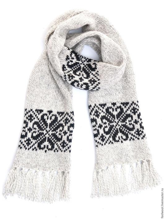 Шарфы и шарфики ручной работы. Ярмарка Мастеров - ручная работа. Купить Шафр из 100% новозеландской шерсти. Handmade. Серый, рисунок