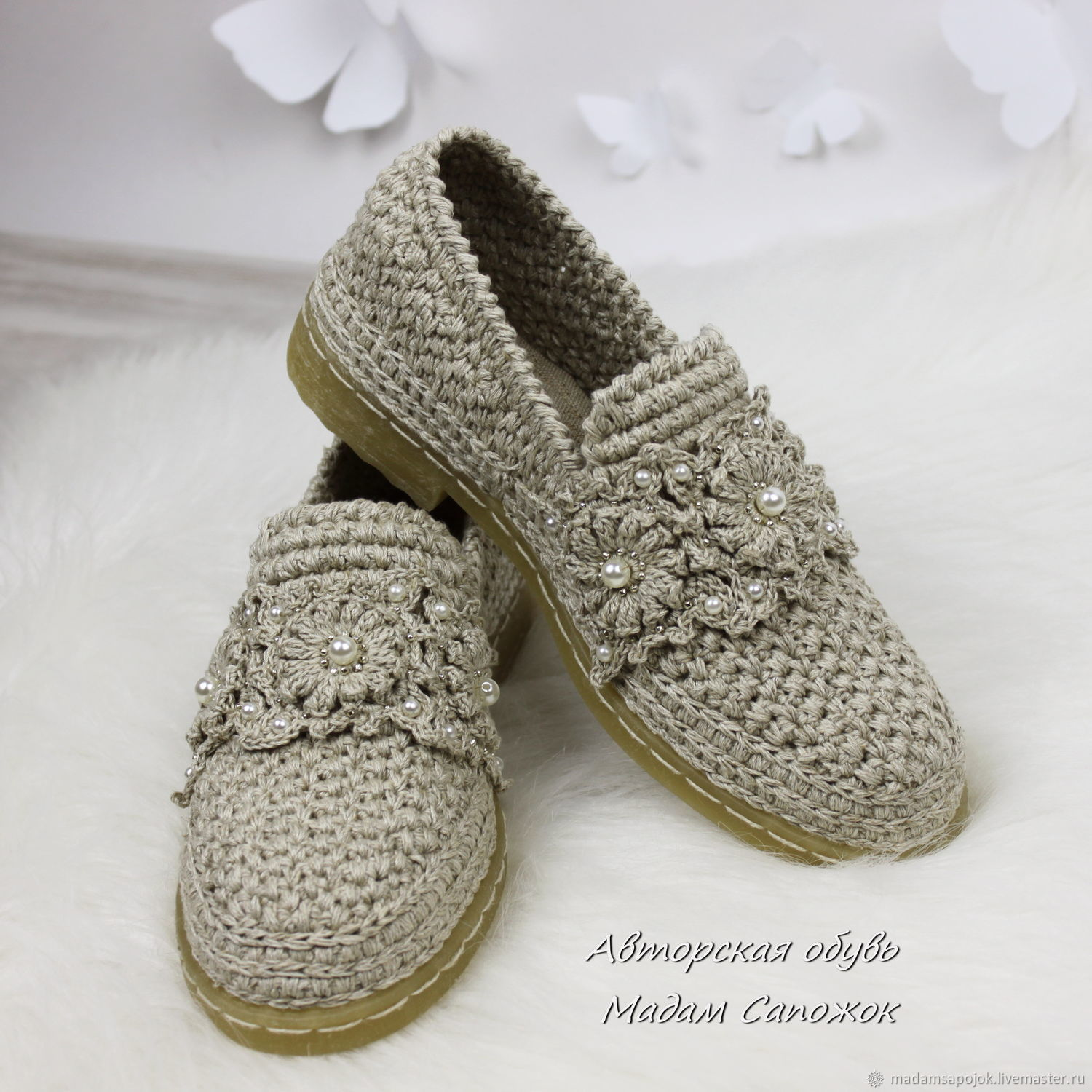 Linen loafer Shoes embroidered with beads and beads, women, Shoes, Nizhny Novgorod,  Фото №1