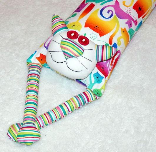 """Детская ручной работы. Ярмарка Мастеров - ручная работа. Купить Игрушка-подушка """"Радужный кот"""" которадуга на белом. Handmade. для детской"""