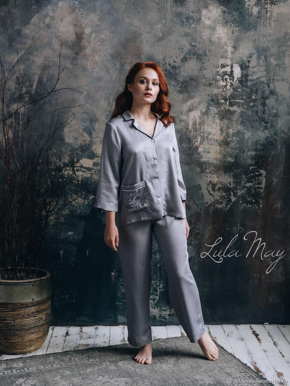 Пижама с монограммой из темно-серого тенселя лиоцелла, Пижамы, Москва,  Фото №1