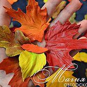 Аксессуары ручной работы. Ярмарка Мастеров - ручная работа Осенние листья из кожи на шнурках.. Handmade.
