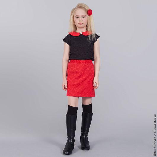 """Одежда для девочек, ручной работы. Ярмарка Мастеров - ручная работа. Купить Комплект """"Красное и черное"""". Handmade. Комбинированный, черный, юбка"""