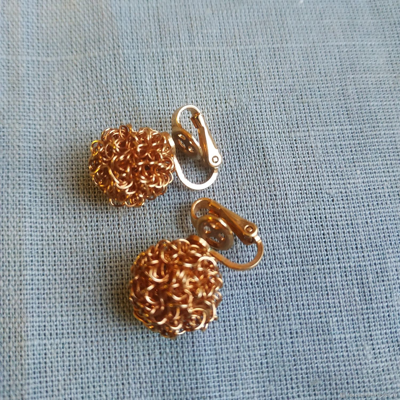 Clips Balls. America, Vintage earrings, Belorechensk,  Фото №1