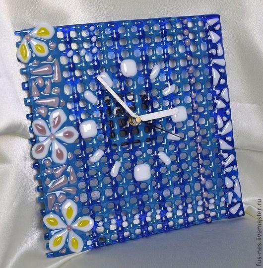 """Часы для дома ручной работы. Ярмарка Мастеров - ручная работа. Купить Часы """"Простые узоры"""" Фьюзинг. Handmade. Тёмно-синий"""
