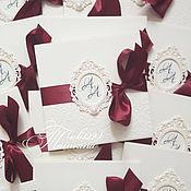 Свадебный салон ручной работы. Ярмарка Мастеров - ручная работа Приглашения айвори -марсала с рамкой и инициалам. Handmade.
