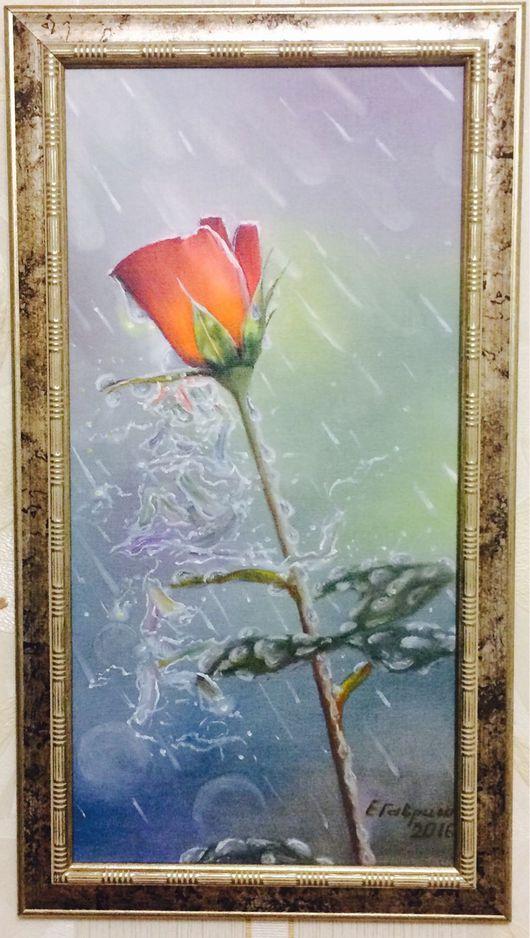 Картины цветов ручной работы. Ярмарка Мастеров - ручная работа. Купить Роза под дождем. Масло. Handmade. Ярко-красный