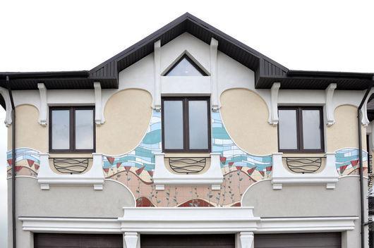 Дизайн экстерьера ручной работы. Ярмарка Мастеров - ручная работа. Купить Керамическая плитка с росписью для фасада. Handmade. Разноцветный