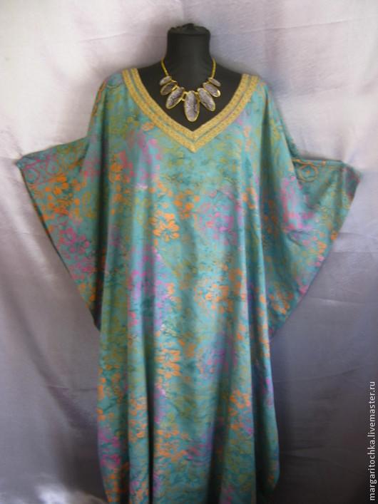 Большие размеры ручной работы. Ярмарка Мастеров - ручная работа. Купить Свободные комфортные длинные платья. Handmade. Платье зеленое