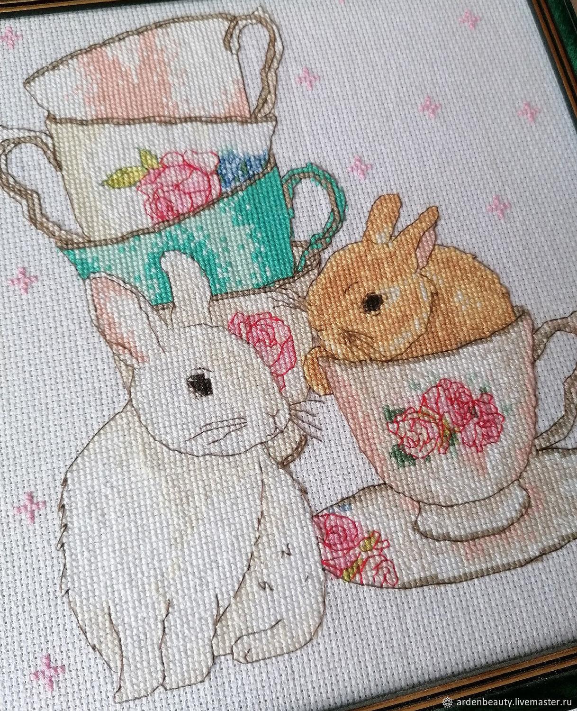 Кролики и чашки Картина Вышивка крестиком, Картины, Санкт-Петербург,  Фото №1