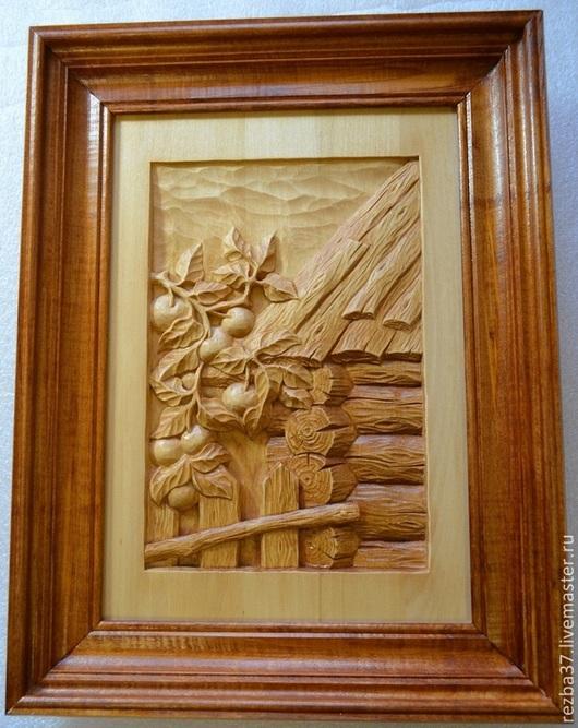 Пейзаж ручной работы. Ярмарка Мастеров - ручная работа. Купить Яблочки.. Handmade. Коричневый, деревянная картина, миниатюра