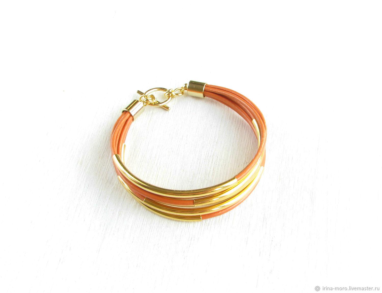 Браслеты ручной работы. Ярмарка Мастеров - ручная работа. Купить Браслет 'Перелив'оранжевый браслет,кожаный браслет,женский браслет. Handmade.