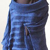 Одежда ручной работы. Ярмарка Мастеров - ручная работа Топ туника льняная Свитер Одежда синяя. Handmade.
