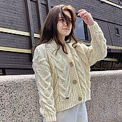 Одежда handmade. Livemaster - original item cardigans: Women`s knitted cardigan oversized milk color. Handmade.