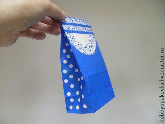 """Упаковка ручной работы. Ярмарка Мастеров - ручная работа. Купить Пакет 18х9х6 см  """"Ажур"""" (голубой) крафт. Handmade."""